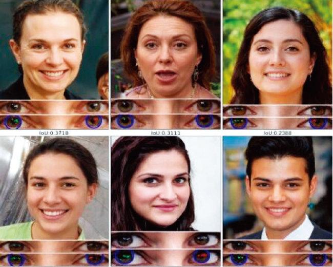 다양한 딥페이크 이미지. 사람의 눈동자 픽셀을 분석해 딥페이크 여부를 확인할 수 있다. [미국 버펄로대 컴퓨터과학과]