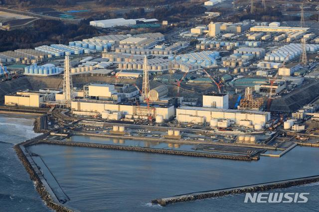 [오쿠마=AP/뉴시스] 일본 동북부 후쿠시마현 소재 후쿠시마 제1 원자력 발전소의 지난 2월14일 전경. 2021. 04.07.