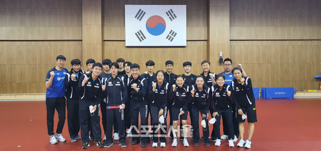 지난해 4월 이후 처음 진천선수촌에 모인 탁구대표팀 선수들. 대한탁구협회 제공