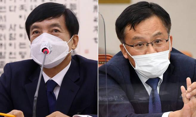 이성윤 서울중앙지검장(왼쪽)과 조남관 검찰총장 직무대행. 연합뉴스