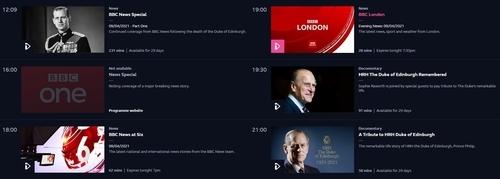 9일(현지시간) 필립공 추모 방송으로 가득한 BBC1 편성표 [BBC 아이플레이어 페이지 캡처. 재판매 및 DB 금지]
