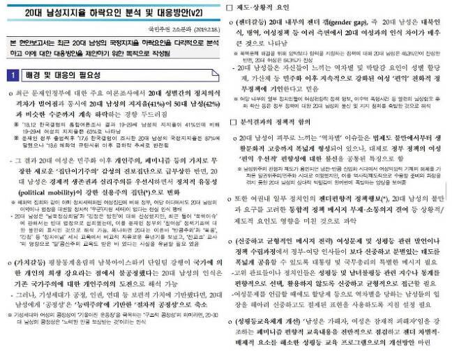 2019년 2월 공개된 대통령 직속 정책기획위원회 보고서 일부
