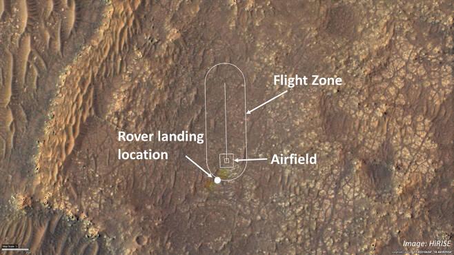 인저뉴어티의 시험 비행 구역.(출처= NASA/JPL-Caltech/University of Arizona)