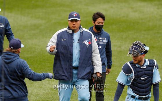 류현진이 시즌 첫 승을 양키스를 상대로 뽑아냈다. 게티이미지