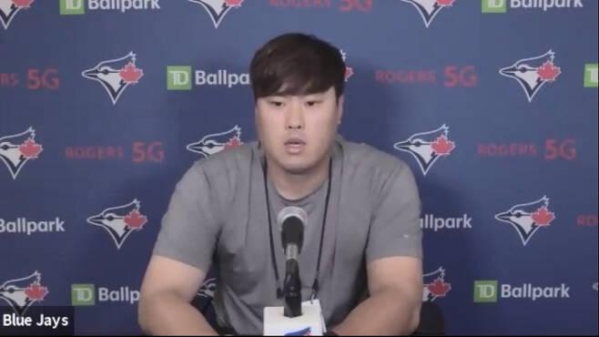 류현진이 14일 양키스전을 승리한 뒤 화상 기자회견을 하고 있다. MLB프레스박스 캡처