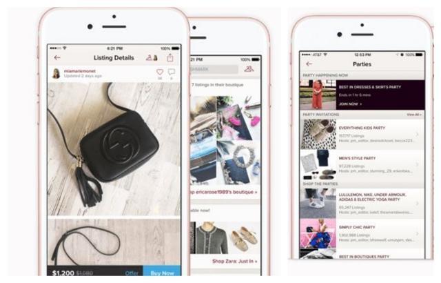 중고 판매 온라인 플랫폼 포시마크의 판매 예시 모바일 화면. 포시마크 홈페이지 캡처