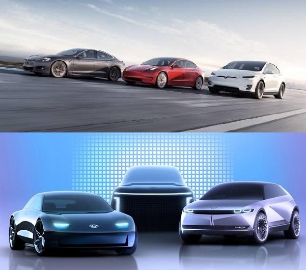 테슬라(위)와 현대차(아래)의 전기차 라인업. 두 회사 뿐 아니라 폭스바겐, 벤츠, 아우디 등 전 세계 자동차 제조사들이 앞다투어 전기차 라인업을 내놓고 있다. /자료=테슬라, 현대차