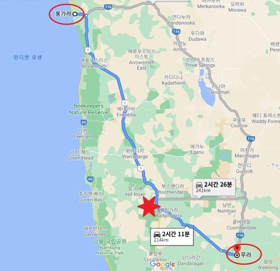 헤일리는 22년 전 동가라에서 약 214km 떨어진 무라로 가던 중 배징가라 도로(별표 지점)에서 마지막으로 목격된 이후 실종됐다. [구글맵 캡처]