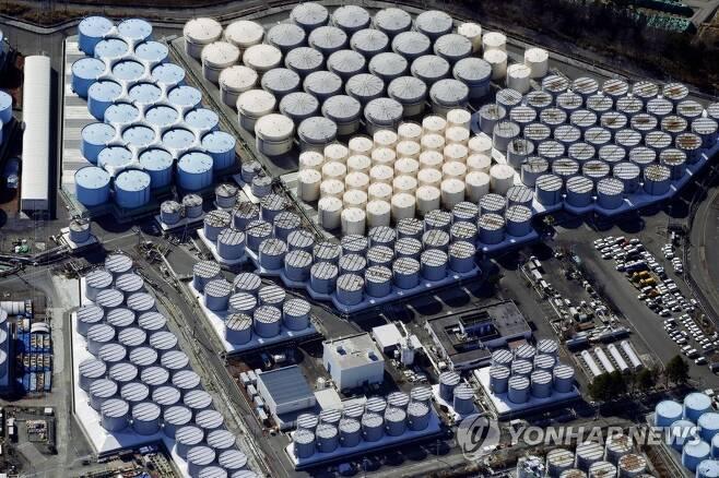 후쿠시마 제1원전의 오염수 탱크 [교도=연합뉴스 자료사진]