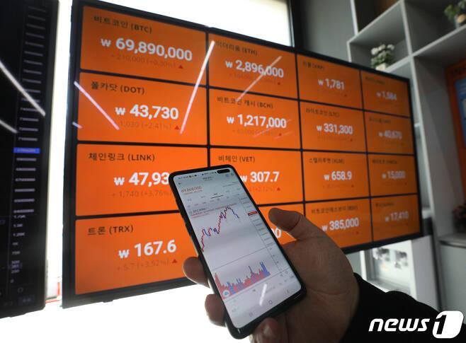 서울 강남구 빗썸 강남고객센터에서 한 시민이 스마트폰으로 가상화폐 시세를 확인하고 있다.  © News1 신웅수 기자