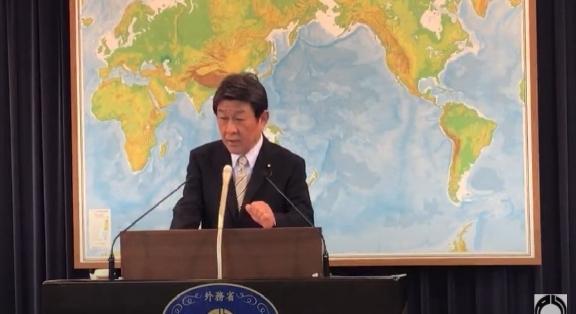 (도쿄=연합뉴스) 모테기 도시미쓰 일본 외무상이 23일 오후 정례 기자회견을 하고 있다. [외무성 유튜브 중계 화면 갈무리]