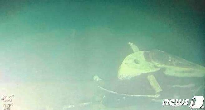 지난달 25일 (현지시간) 인도네시아 발리에서 훈련 도중 실종된 잠수함 낭갈라함의 본체 잔해가 해저서 보이고 있다. © AFP=뉴스1 © News1