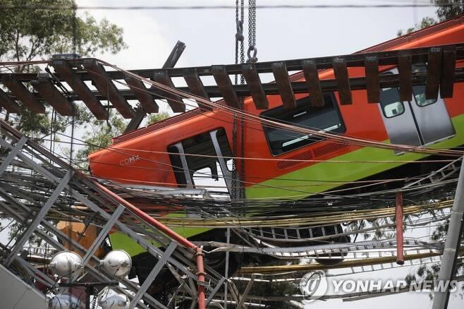 고가철도 붕괴 후 추락한 멕시코시티 지하철 [로이터=연합뉴스]