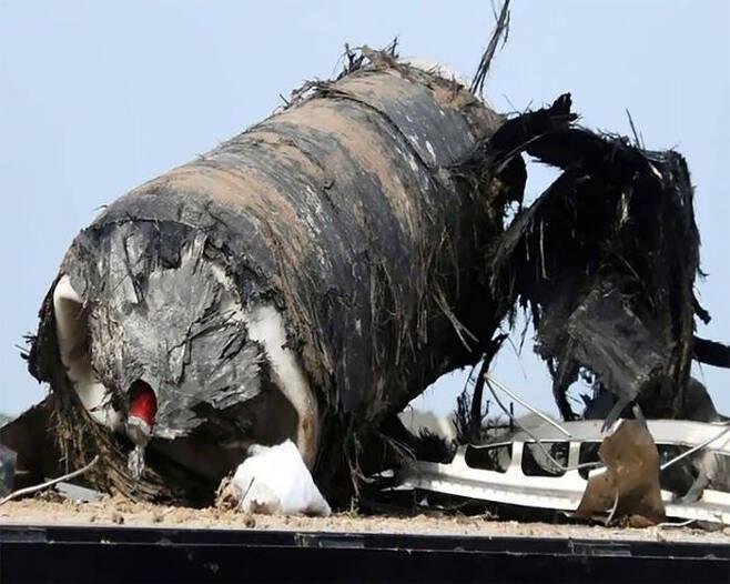 미국 민간 우주항공업체 '스페이스X'의 로켓 잔해(출처=중국 포털 왕이)