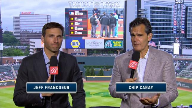5월 13일(한국시간) 애틀랜타와 토론토 경기를 중계한 제프 프랑코어와 칩 캐레이.   MLBTV 캡처