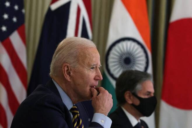 지난 3월 12일 미국, 일본, 호주, 인도 안보 연합체 '쿼드(Quad)' 4개국이 첫 화상 정상회의를 진행하는 모습(사진=AFP)