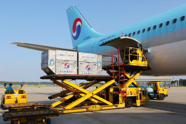 대한항공이 A330 여객기에 화물을 탑재하고 있는 모습. 대한항공 제공