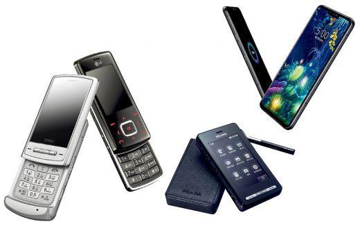 출처: (왼쪽부터)샤인폰, 초콜릿폰, 프라다폰, LG V50 ThinQ. /사진제공=LG전자