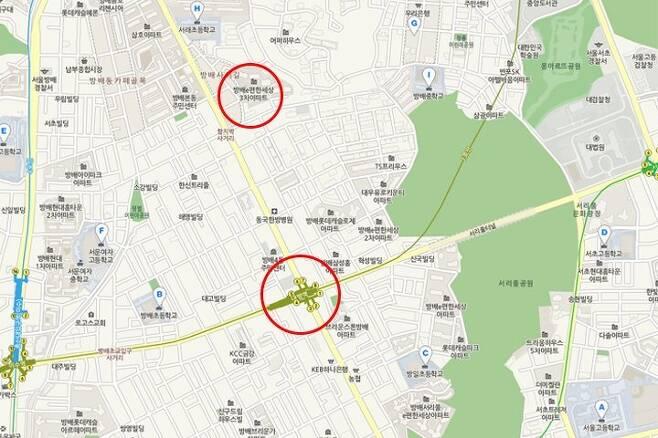 출처: 인근 학교 및 내방역 위치