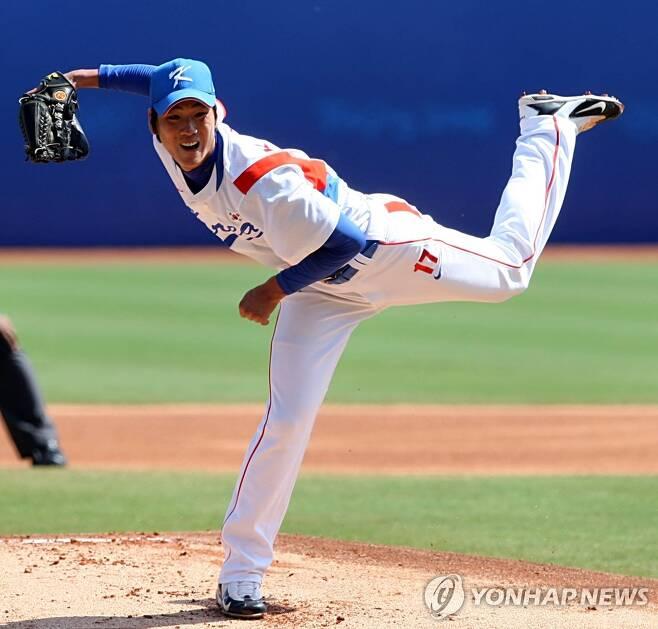 2008년 베이징올림픽 준결승전에 등판한 김광현 [연합뉴스 자료사진]