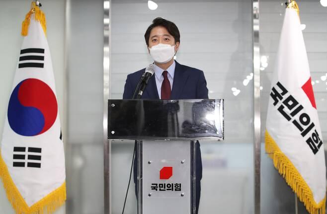 국민의힘 이준석 전 최고위원이 지난달 20일 오후 서울 여의도 국민의힘 중앙당사에서 당 대표 출마 선언을 하고 있다.