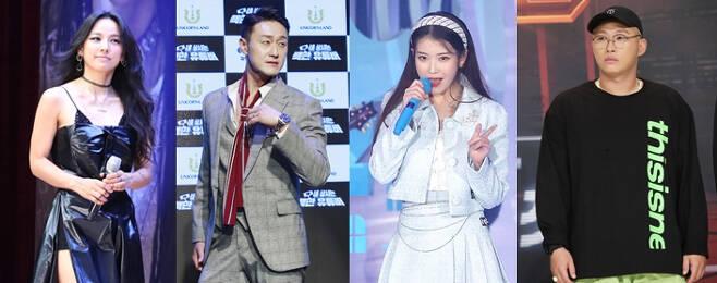 왼쪽부터 가수 이효리, 개그맨 김원효, 가수 아이유, 래퍼 스윙스/사진=뉴스1