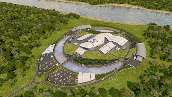 미국 뉴스케일파워는 77㎿로 발전용량을 키운 SMR의 설계 심사를 내년 미국 원자력규제위원회(NRC)에 신청할 계획이다. 사진은 뉴스케일파워의 소형 모듈 원자로(SMR) 원전 조감도. 뉴스케일파워 제공