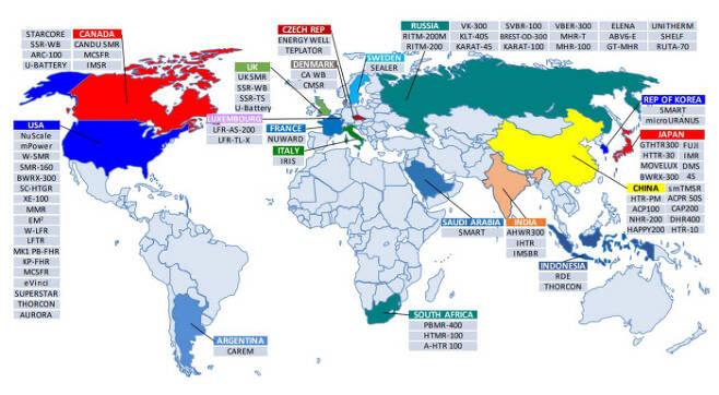세계원자력기구(IAEA)가 집계한 지난해 하반기 기준 국가별 소형모듈원자로(SMR) 기술 개발 현황. 한국은 한국원자력연구원이 개발한 '스마트'와 울산과학기술원 황일순 석좌교수 주도로 개발하는 '마이크로우라노스' 등 두 종류의 SMR이 있다.