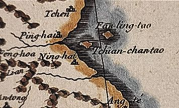 당빌의 '조선왕국전도'에서 독도(붉은 점선 안)를 '찬찬타오'란 이름으로 표기한 부분. /서울역사박물관