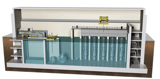 두산중공업이 전략적 협력관계를 맺고 있는 미국 뉴스케일 사의 소형모듈원전(SMR, Small Modular Reactor) 건물 내부 모습. 소형 원자로 5기가 한 수조에 나눠서 설치돼 있다. [사진 두산중공업]
