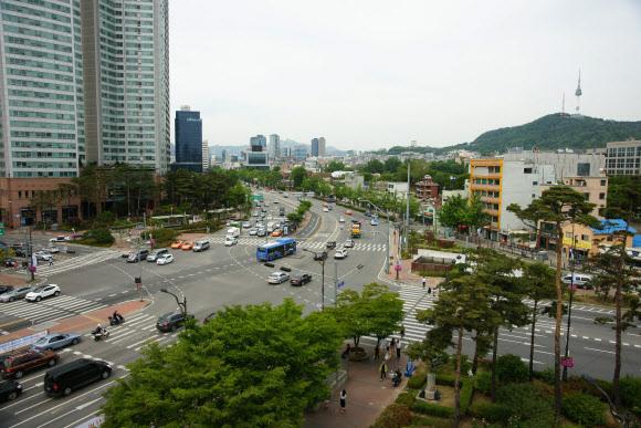 국가상징거리가 조성되는 삼각지역 일대 전경.