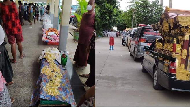 이 보도는 전혀 사실이 아니다. 양곤과 만달레이등 주요 도시의 장례식장에는 수많은 시신들이 밀려든다. 양곤의 한 장례식장(좌), 장례식장에 들어가지 못한 영구차들이 줄을 이어  정차돼 있다(우). 미얀마 시민들이 sns에 올리고 있는 수많은 장례식장 사진 상당수는 차마 기사에 올릴 수 없을 만큼 참담하다. [사진 : 트위터 미얀마 나우]
