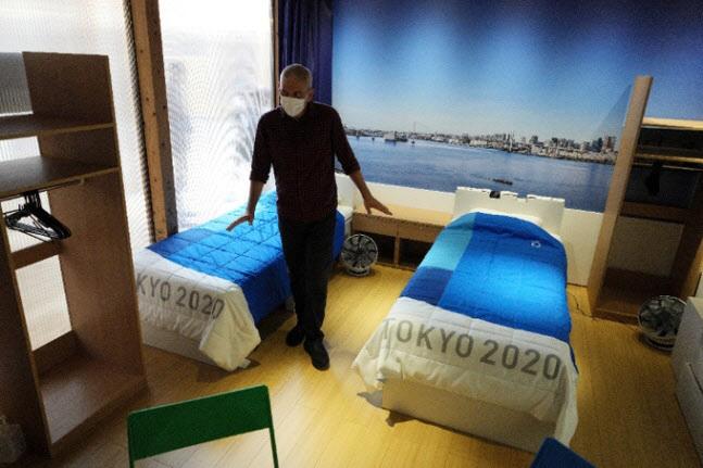 2명이 투숙하는 도쿄올림픽 선수촌 객실. 침대는 골판지로 제작됐다. (사진=연합뉴스)