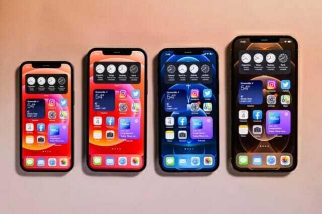 아이폰12 라인업. 왼쪽부터 아이폰12 미니, 아이폰12, 아이폰12 프로, 아이폰12 프로맥스 (사진=씨넷)