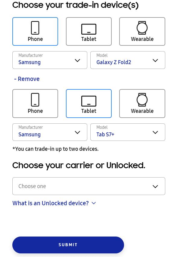 삼성전자 미국 홈페이지 내 갤럭시Z폴드3 예약 페이지에는 보상 판매 기기가 두 개로 확대된 것을 볼 수 있다. (사진=삼성전자 미국 법인 홈페이지 갈무리)