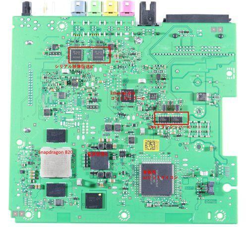 ICAS3의 기판. 퀄컴의 스냅드래곤 820, NXP의 차량용 32비트 마이크로컴퓨터 등이, 사진 뒤쪽엔 디지털 앰프 등이 탑재돼 있다. /포멀하우트테크노솔루션즈