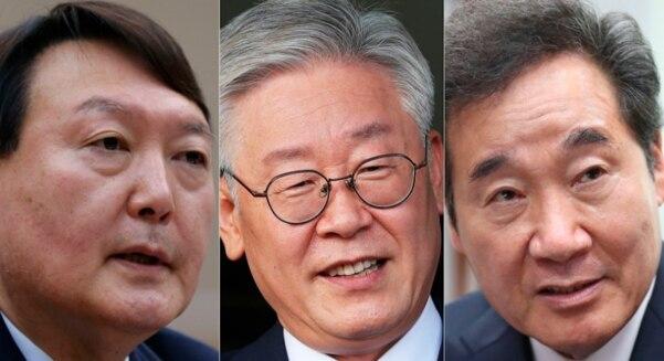 윤석열 전 검찰총장, 이재명 경기지사, 이낙연 더불어민주당 대표