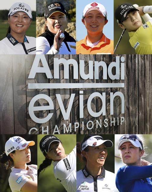 2021년 미국여자프로골프(LPGA) 투어 메이저 대회인 아문디 에비앙 챔피언십에 출전하는 고진영, 박인비, 김효주, 박성현, 전인지, 김세영 프로, 리디아 고, 넬리 코다(사진제공=Getty Image). 가운데 이미지(사진제공=The Amundi Evian Championship_lundi)