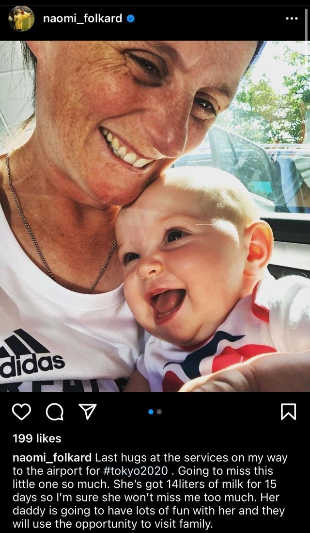 [서울=뉴시스] 지난 18일 양궁 선수 나오미가 포카드가 아기와 마지막 포옹을 하는 사진을 올리며, 아이는 15일 동안 마실 14리터의 모유가 있다고 전했다. (사진=나오미 인스타그램) 2021.07.22 photo@newsis.com *재판매 및 DB 금지
