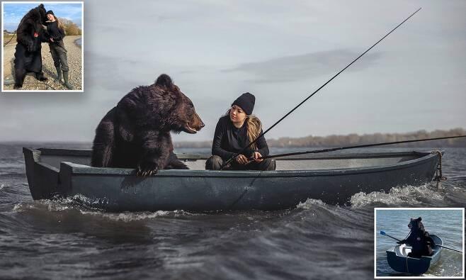 여성과 낚시하는 곰 화제…러 서커스단서 구조된 뒤 모델로 활동