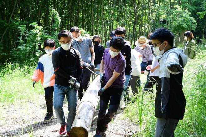 곡성 오산초등학교 학생 가족들이 지난 6월 섬진강 제월섬에서 진행된 트리하우스 만들기 프로그램에서 나무를 옮기고 있다. 곡성교육지원청 제공