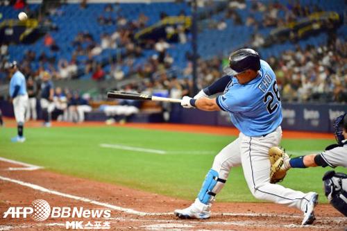 최지만이 투런 홈런으로 팀의 대승에 기여했다. 사진(美 세인트 피터스버그)=ⓒAFPBBNews = News1