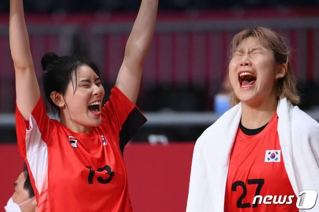 한국 여자 핸드볼이 앙골라전에서 극적 무승부를 거뒀다. © AFP=뉴스1