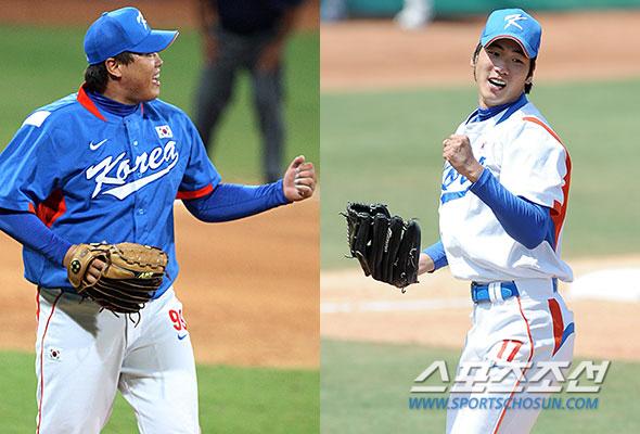 2008 베이징올림픽 당시 류현진(왼쪽)과 김광현. 연합뉴스, 스포츠조선DB
