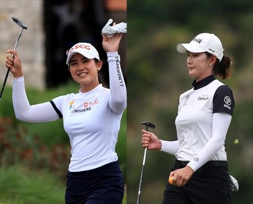 2021년 미국여자프로골프(LPGA) 투어 ISPS 한다 월드 인터내셔널 연장 끝에 우승을 차지한 파자리 아난나루칸(태국). 공동 5위로 마친 최운정 프로. 사진제공=Getty Image