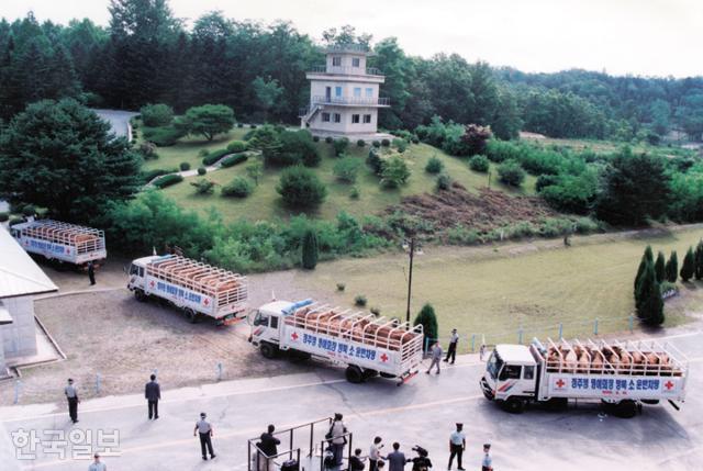 1998년 6월 정주영 현대그룹 명예회장과 함께 북측으로 향하는 소떼. 한국일보 자료사진