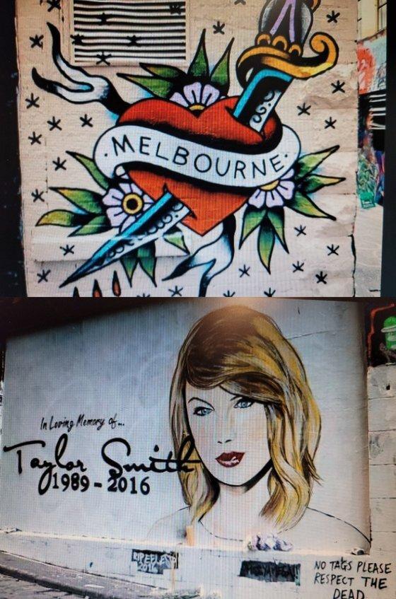여정원(58)씨가 '쥴리 벽화'를 그리기 전 착안했다는 호주 멜버른 벽화거리 그림들. 여씨는 중앙일보와의 인터뷰에서 ″애초 쥴리 벽화를 기획해 그린 게 아니다″라며 ″막판에 재미있는 사회 풍자적 문구를 넣고 싶었을 뿐″이라고 말했다. 사진 여씨