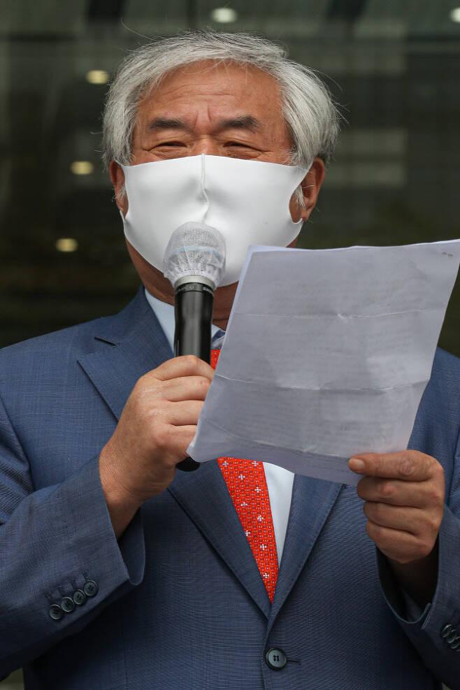 오는 15일 광화문 집회를 예고한 전광훈 목사.(사진=뉴스1)