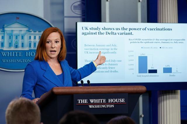젠 사키 미국 백악관 대변인이 2일 코로나19 백신 접종 수치를 보여주며 브리핑을 하고 있다. 워싱턴=AP 연합뉴스