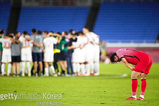 한국 올림픽 축구 대표팀은 2020 도쿄 올림픽 8강전 멕시코와의 경기에서 3-6으로 졌다(사진=게티이미지코리아)